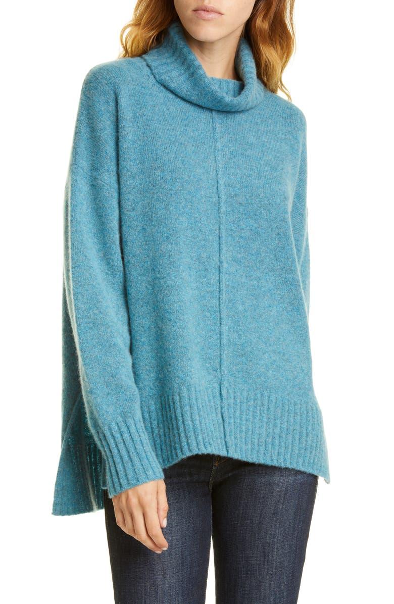 NORDSTROM SIGNATURE Cashmere Bouclé Turtleneck Sweater, Main, color, TEAL STORM MARL