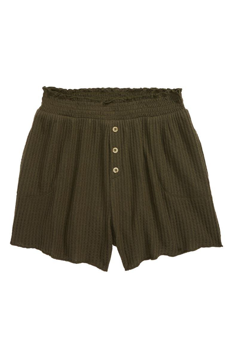 TREASURE & BOND Smocked Waist Knit Shorts, Main, color, OLIVE SARMA