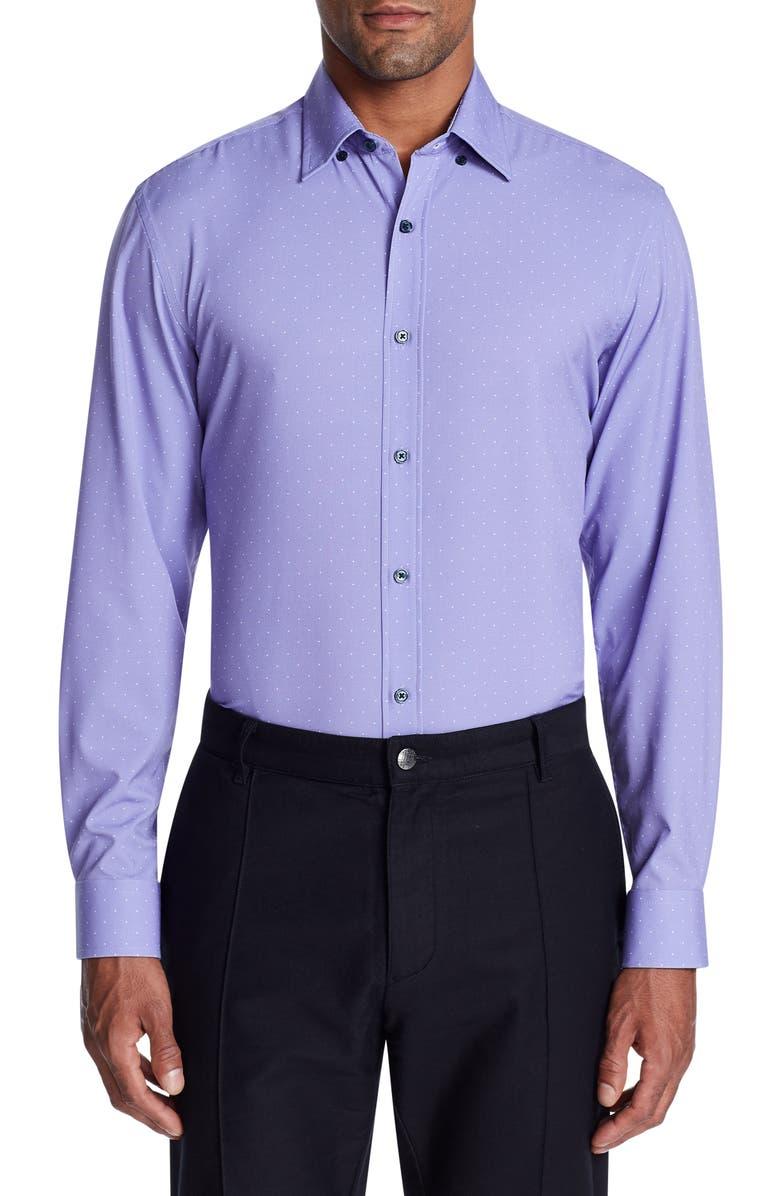 W.R.K Trim Fit Performance Dot Dress Shirt, Main, color, PURPLE
