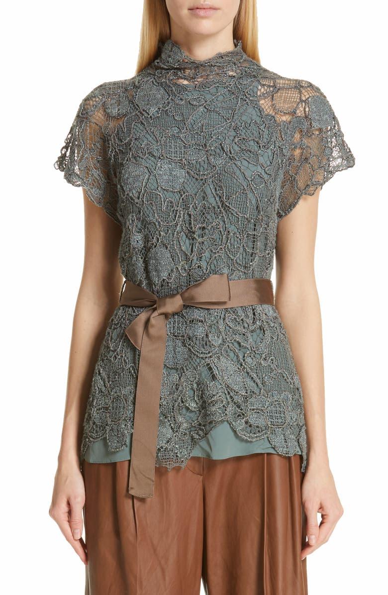 BRUNELLO CUCINELLI Monili Trim Knit Floral Lace Top, Main, color, 300