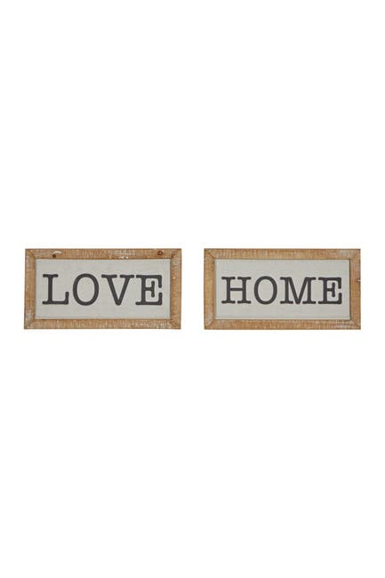 """Image of Willow Row Brown Metal Farmhouse Sign Wall Decor - 12"""" x 6"""" - Set of 2"""