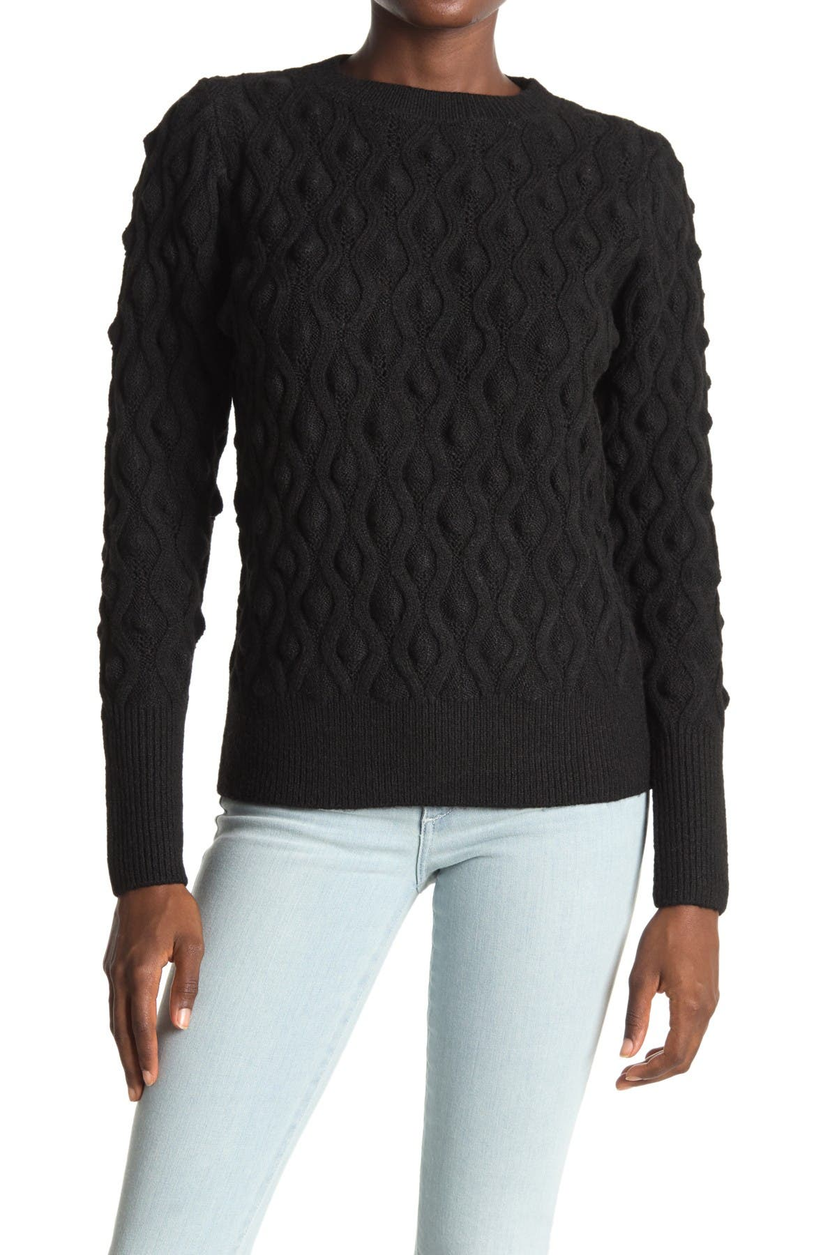 Image of Sweet Romeo Popcorn Knit Crew Neck Pullover Sweater
