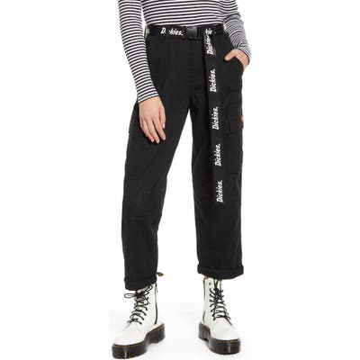 Dickies Belted Crop Utility Cargo Pants, Black