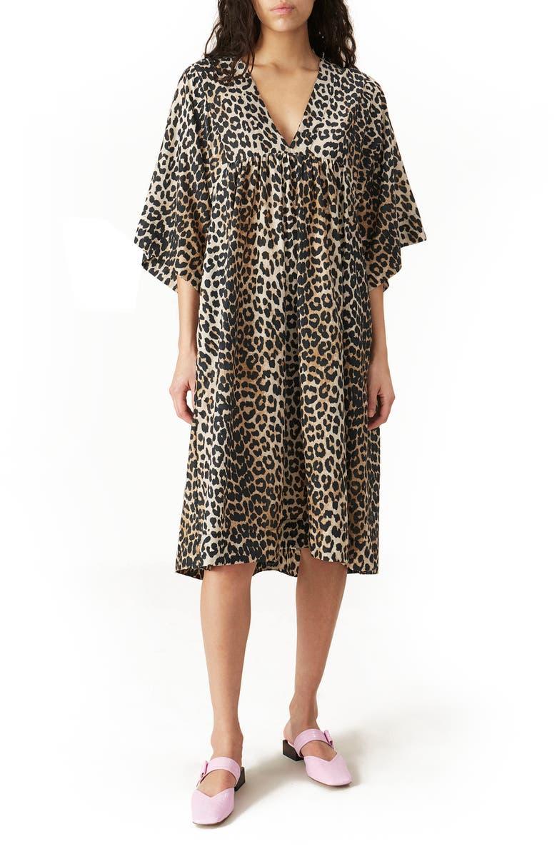 GANNI Leopard Print Cotton & Silk Dress, Main, color, LEOPARD