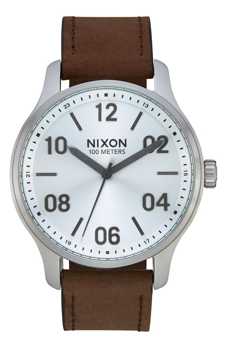 NIXON Patrol Leather Strap Watch, 42mm, Main, color, BROWN/ SILVER