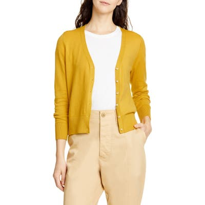 Alex Mill Crop Cotton Blend Cardigan, Yellow