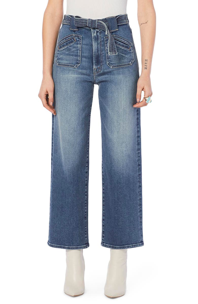 MOTHER The Tie Patch Rambler Ankle Wide Leg Jeans, Main, color, HOP ON HOP OFF