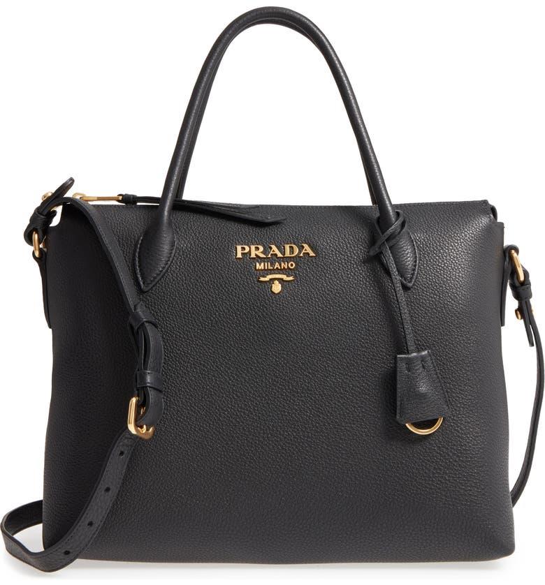 PRADA Daino Leather Shoulder Bag, Main, color, 001
