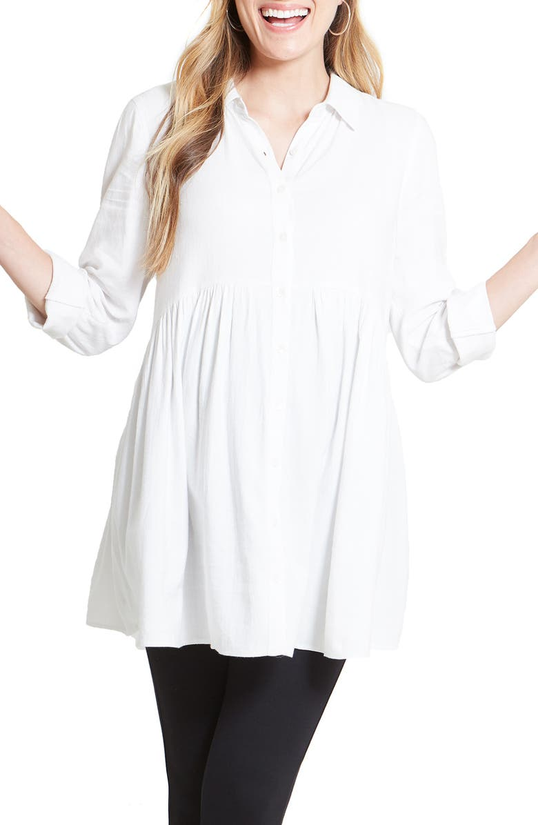 INGRID & ISABEL<SUP>®</SUP> Peplum Button Front Maternity Top, Main, color, WHITE