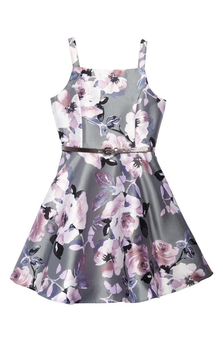 ZUNIE Floral Print Fit & Flare Dress, Main, color, GREY FLORAL
