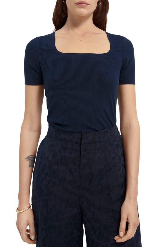 Scotch & Soda RIB SQUARE NECK TOP