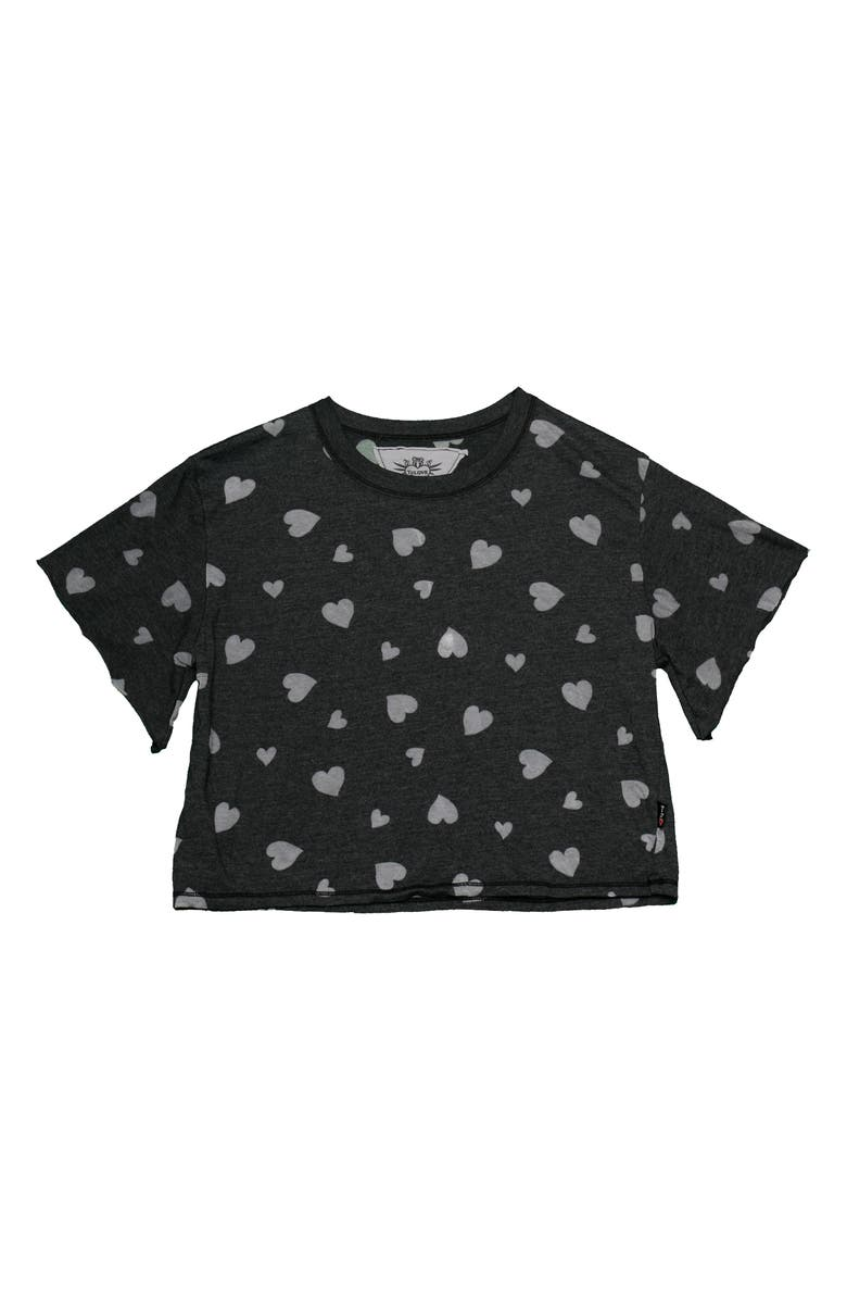 T2 LOVE Heart Print T-Shirt, Main, color, BLACK
