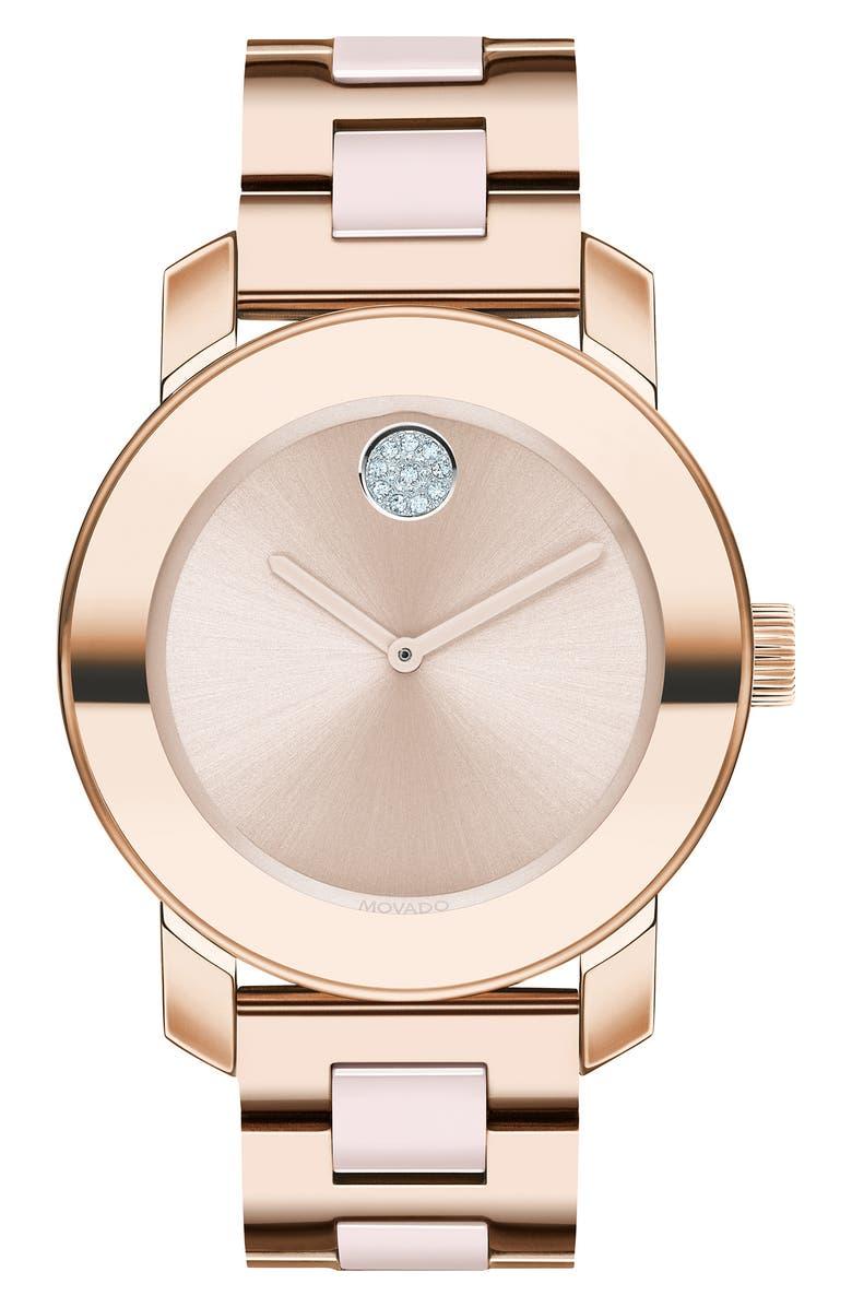 MOVADO Bold Pavé Dot Ceramic Bracelet Watch, 36mm, Main, color, ROSE GOLD