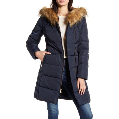Cole Haan Feather & Down Puffer Jacket With Faux Fur Trim