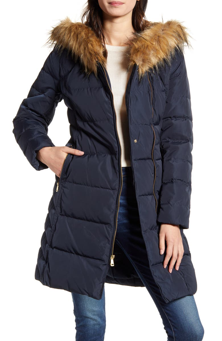 COLE HAAN Feather & Down Puffer Jacket with Faux Fur Trim, Main, color, NAVY