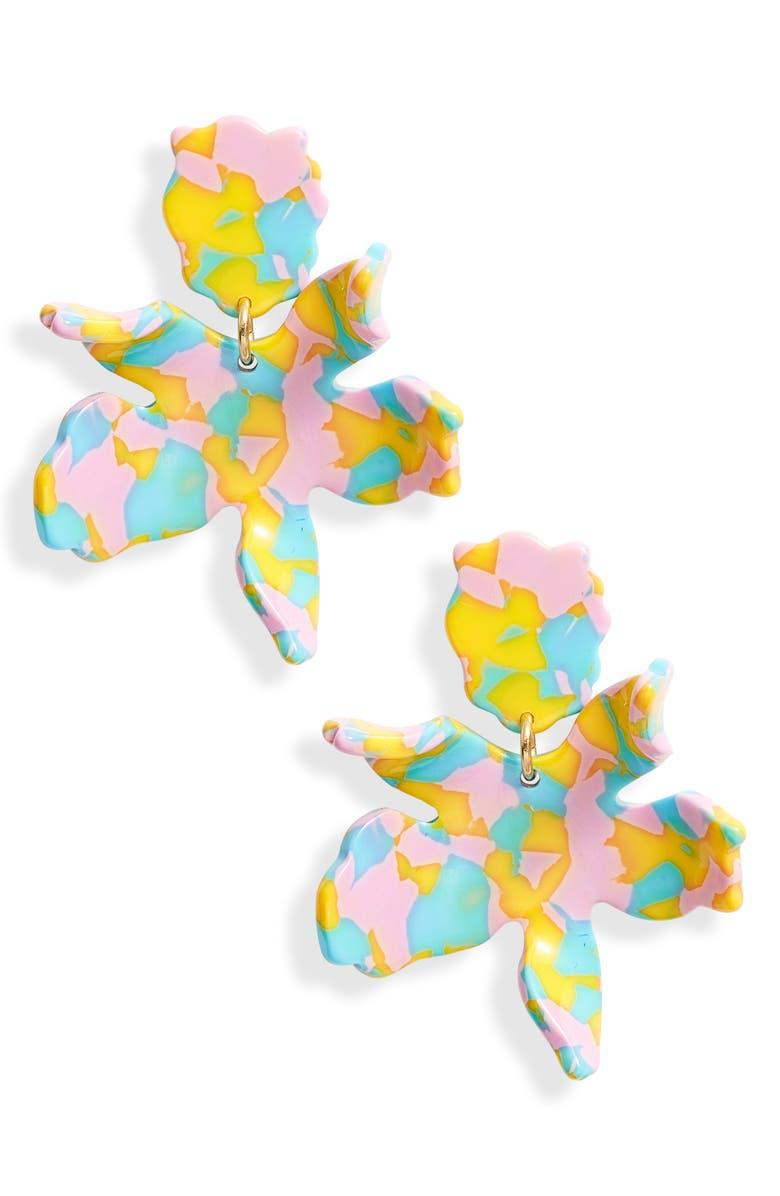 LELE SADOUGHI Small Paper Lily Earrings, Main, color, LEMON MERINGUE