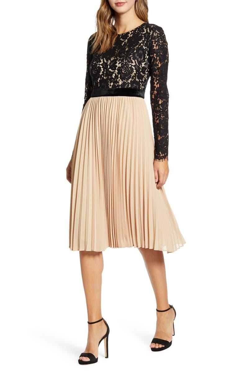 RACHEL PARCELL Lace Pleat Dress, Main, color, 001