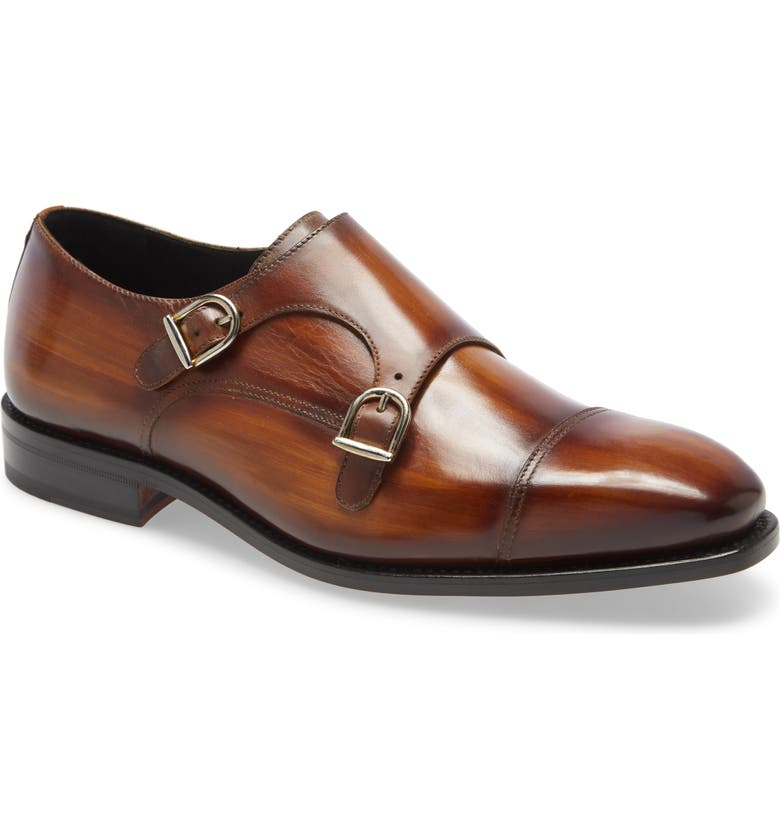 IKE BEHAR Regal Double Monk Strap Shoe, Main, color, BROWN