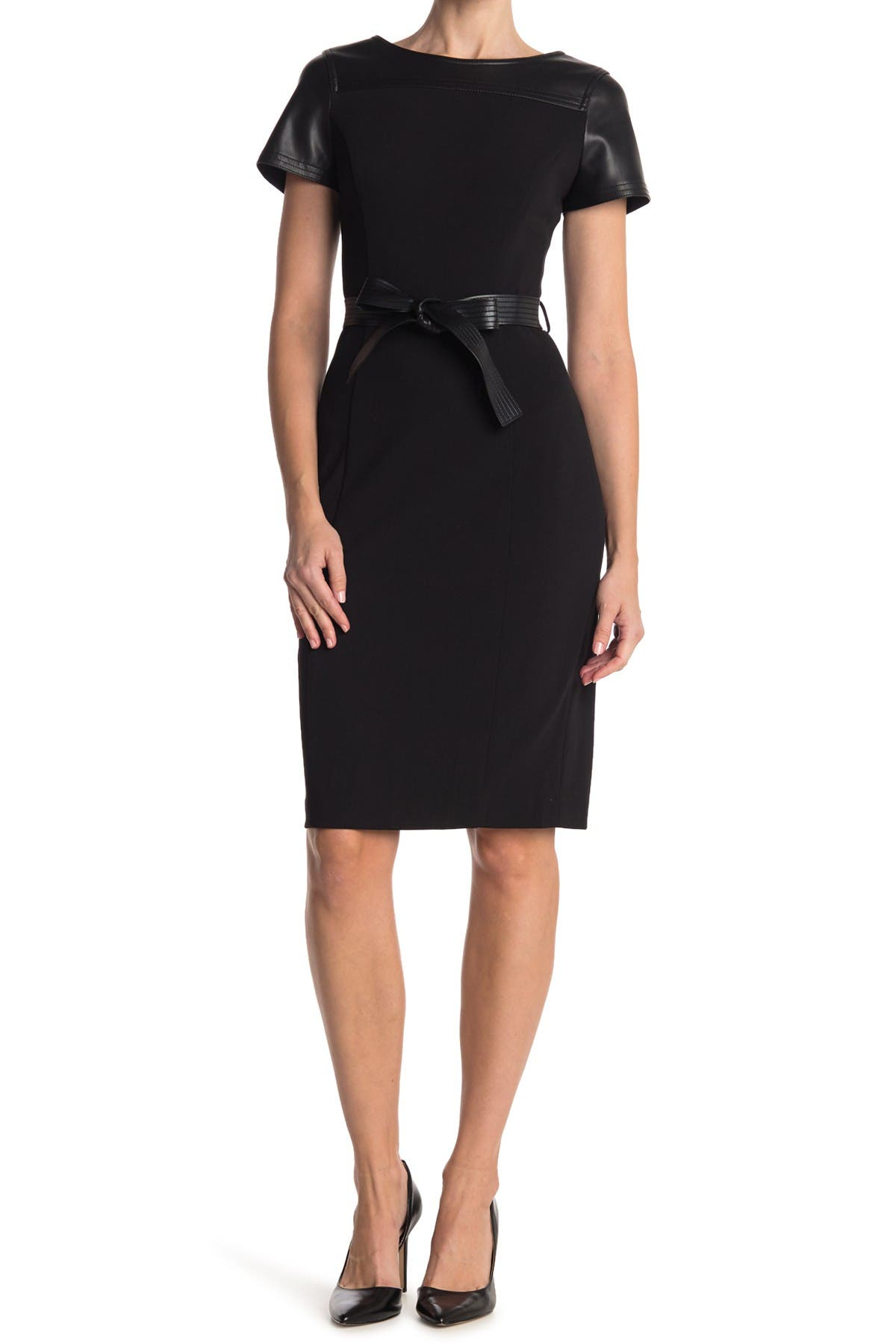 Image of Calvin Klein Belted Faux Leather Accent Sheath Dress