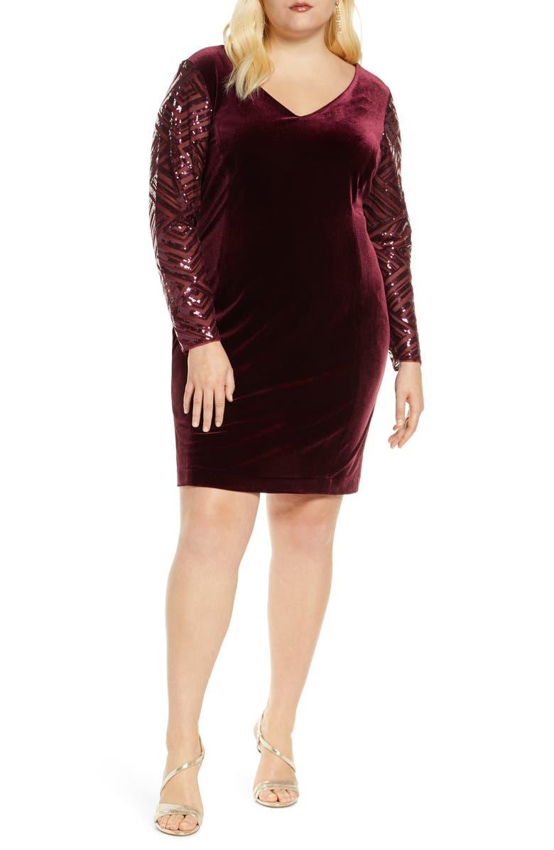 DONNA RICCO Long Sleeve V-Neck Velvet Cocktail Dress, Main, color, WINE TASTING
