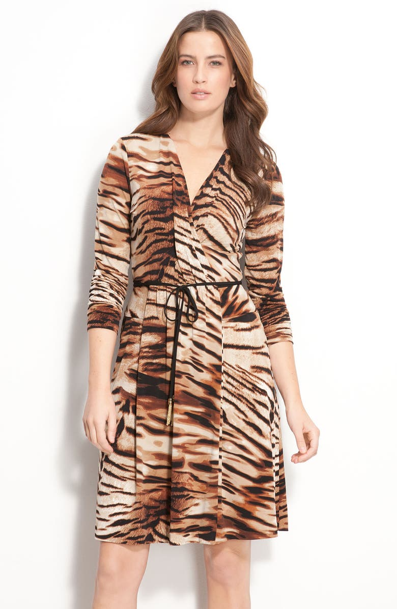 CALVIN KLEIN Animal Print Wrap Dress, Main, color, 200