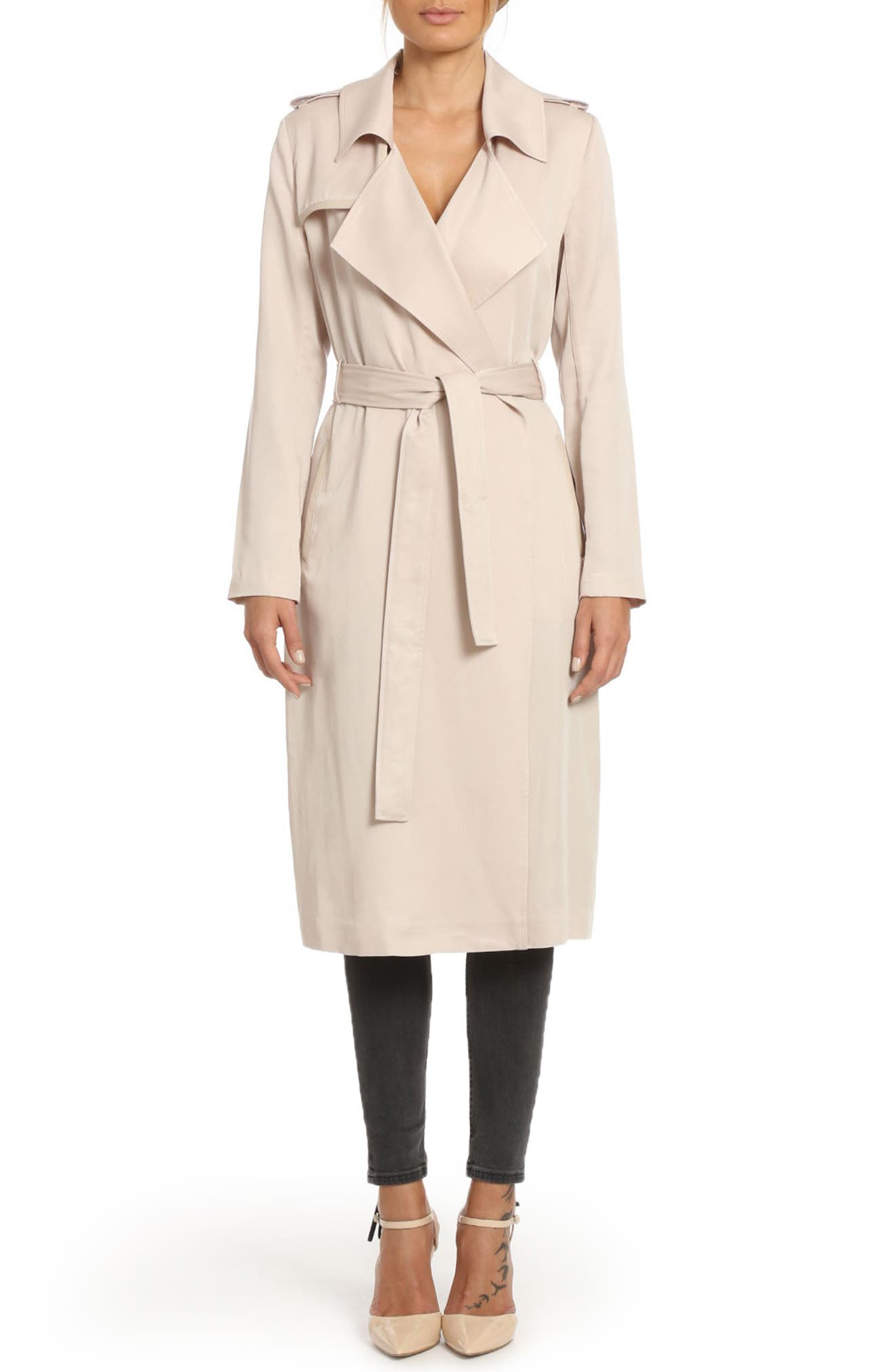 ,                             Badgley Mischka Faux Leather Trim Long Trench Coat,                             Main thumbnail 41, color,                             659