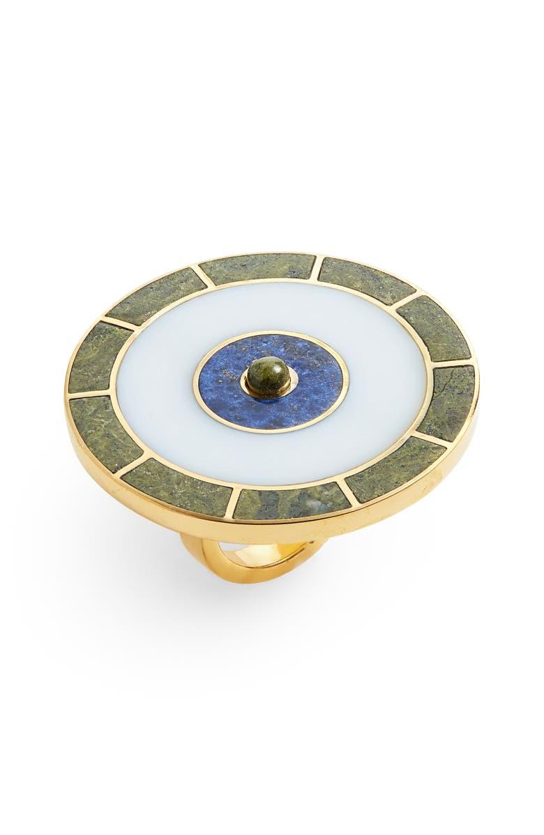 MONICA SORDO Samay Brujo Maxi Ring, Main, color, WHITE/ DUMORTIERITE/ UNAKITE