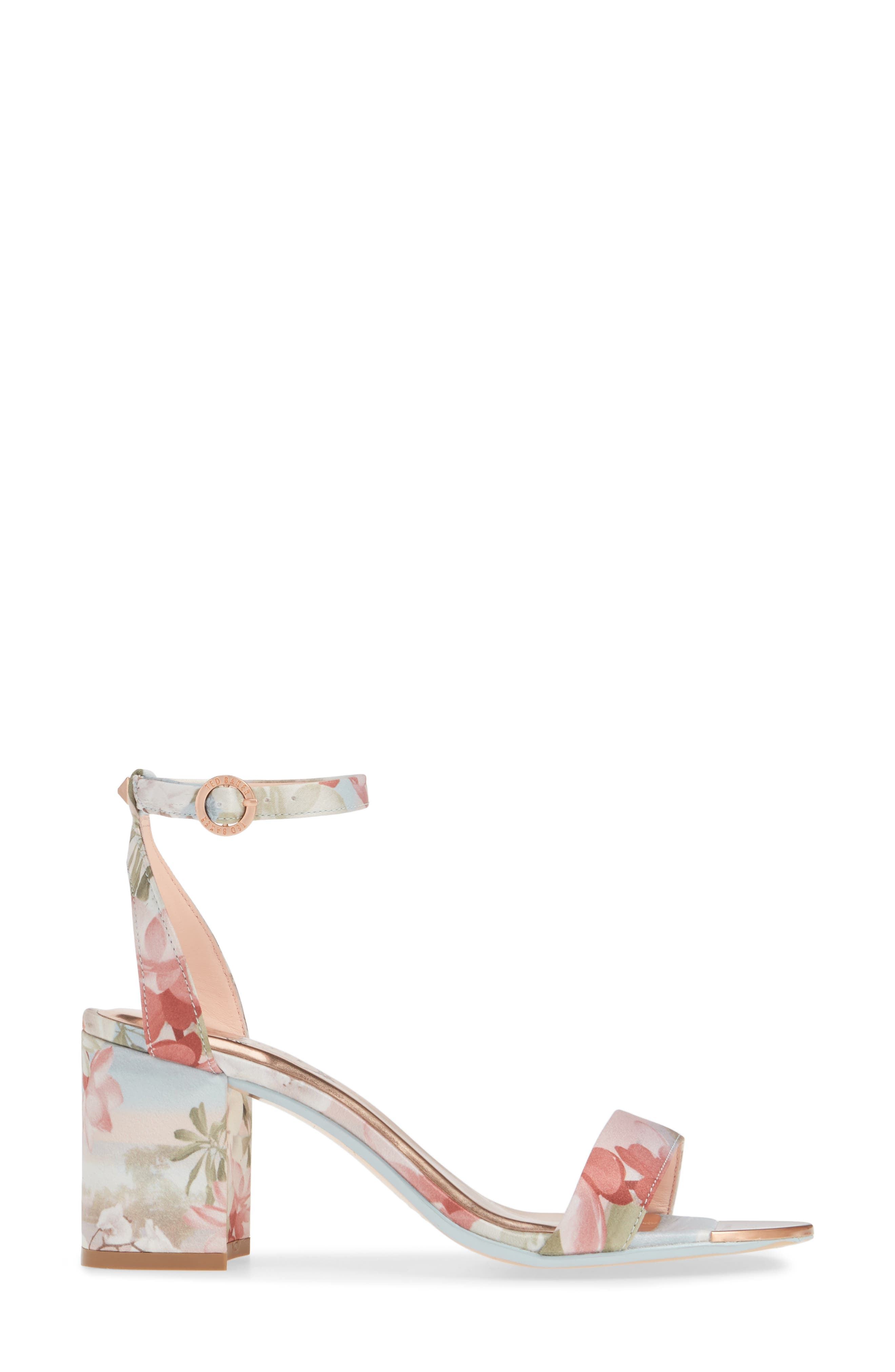 ,                             Rozie Block Heel Sandal,                             Alternate thumbnail 3, color,                             PALE BLUE SATIN
