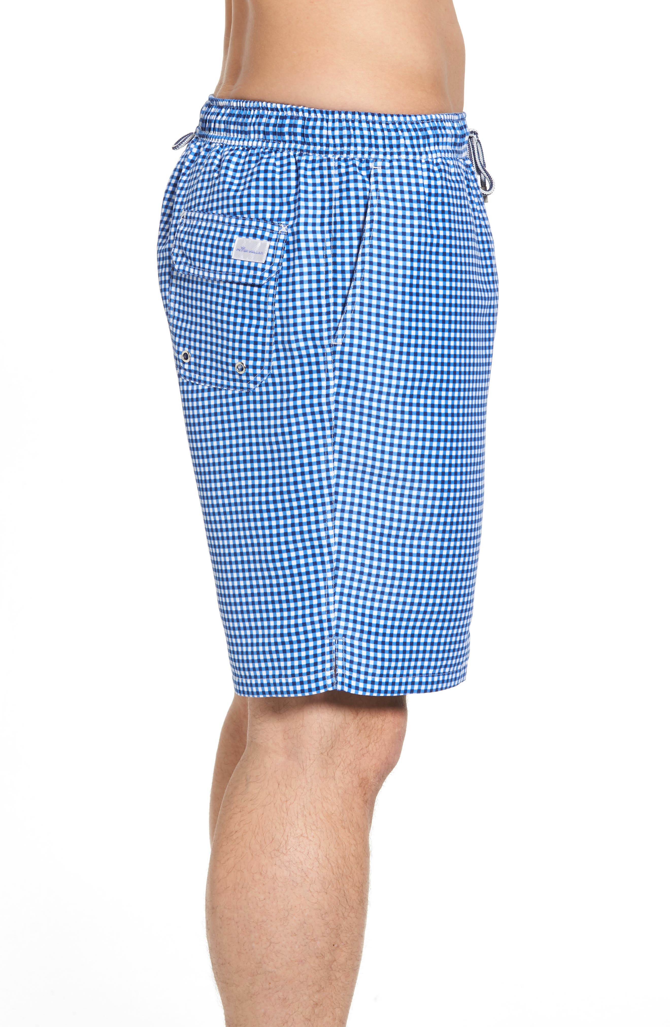 ,                             Gingham Style Swim Trunks,                             Alternate thumbnail 3, color,                             ATLANTIC BLUE