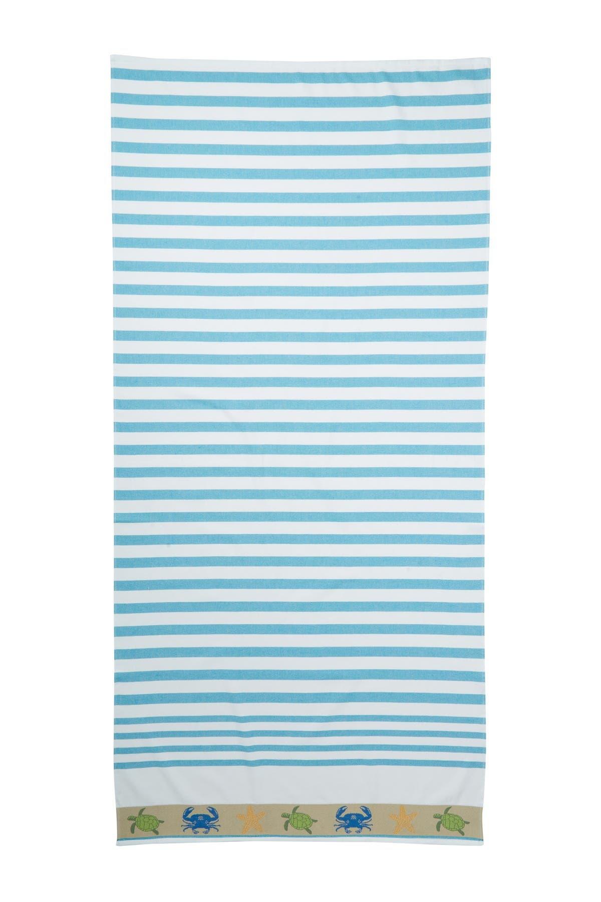Image of Apollo Towels Vanguard Oceanic Border Beach Towel - Turquoise
