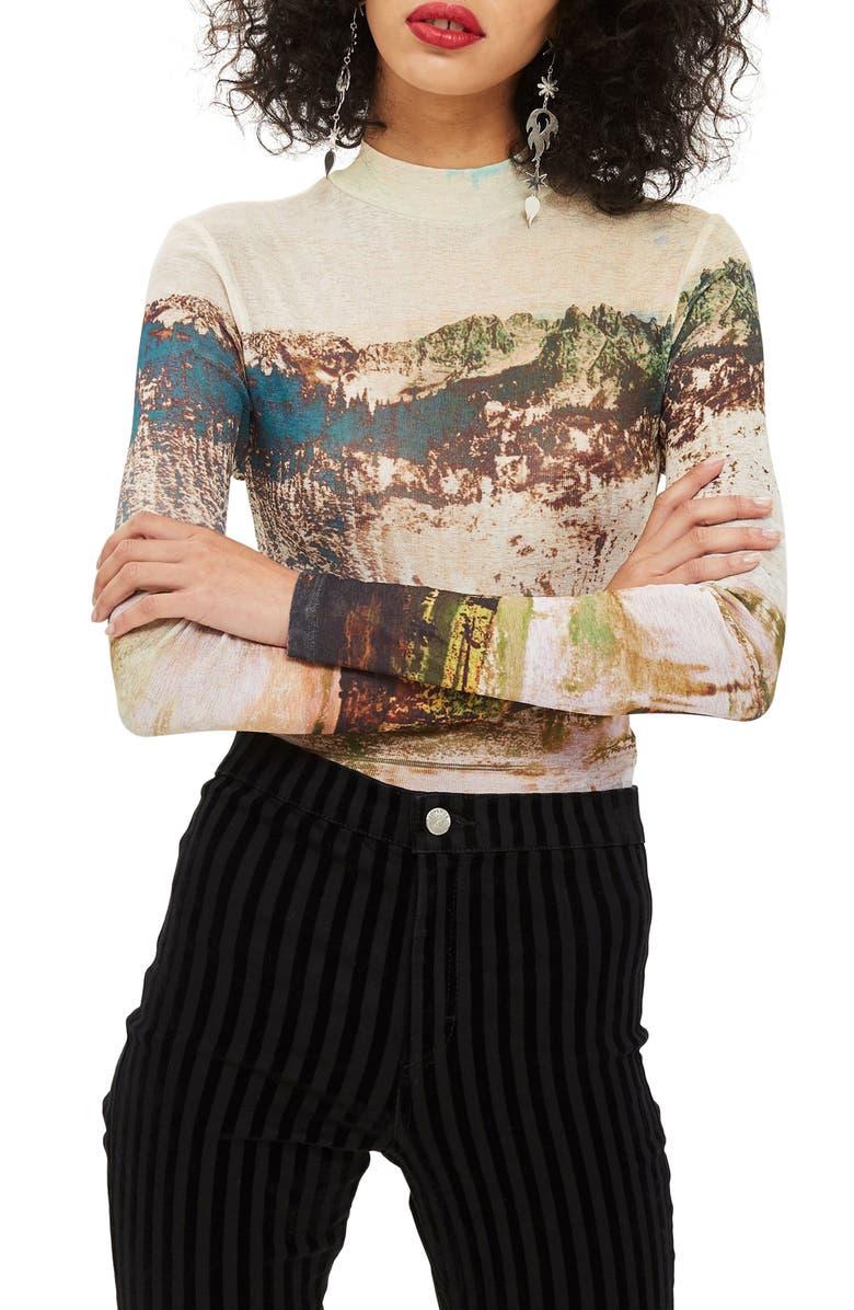 TOPSHOP Landscape Print Tee, Main, color, 900