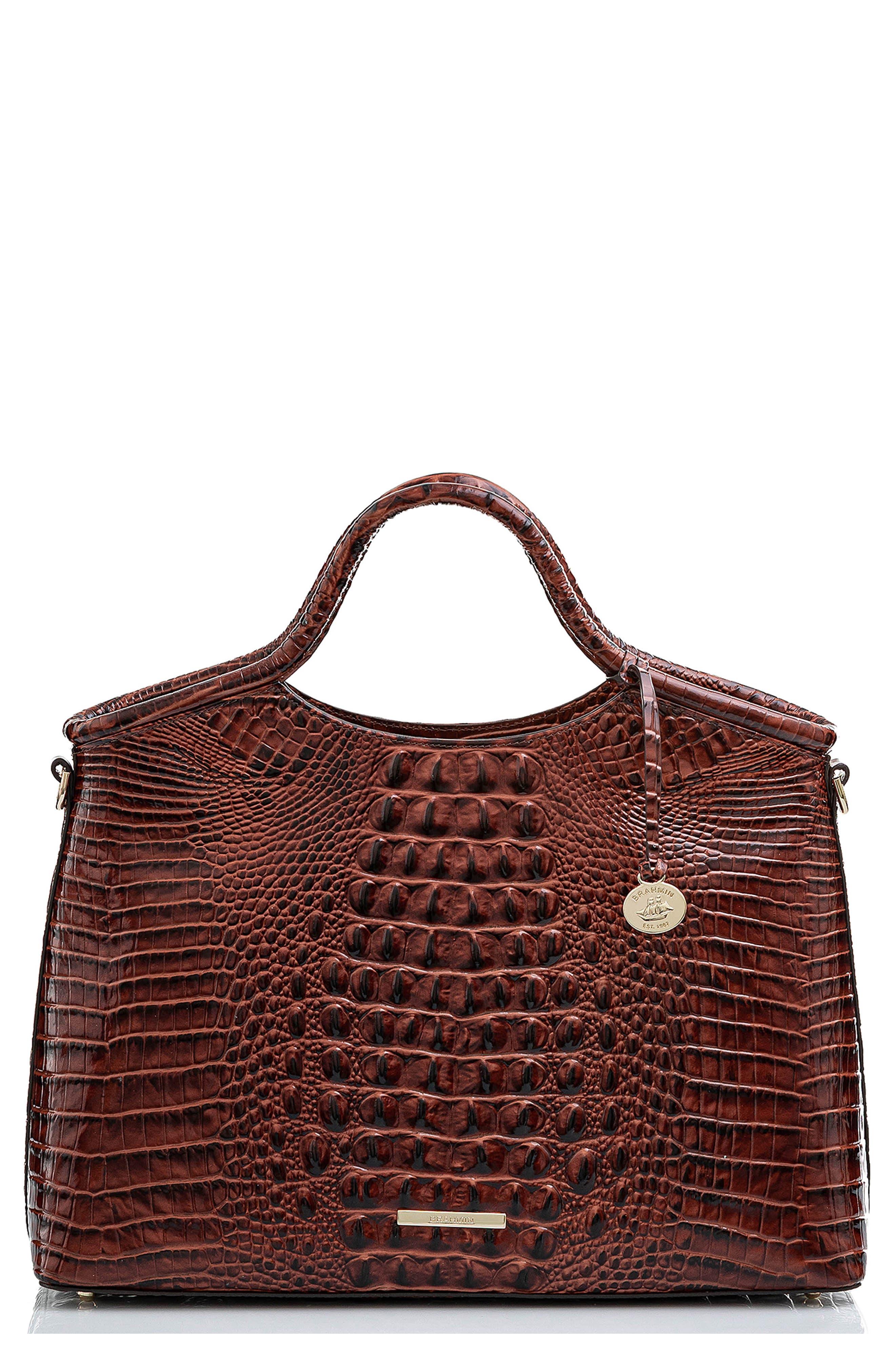 Elaine Croc Embossed Leather Satchel