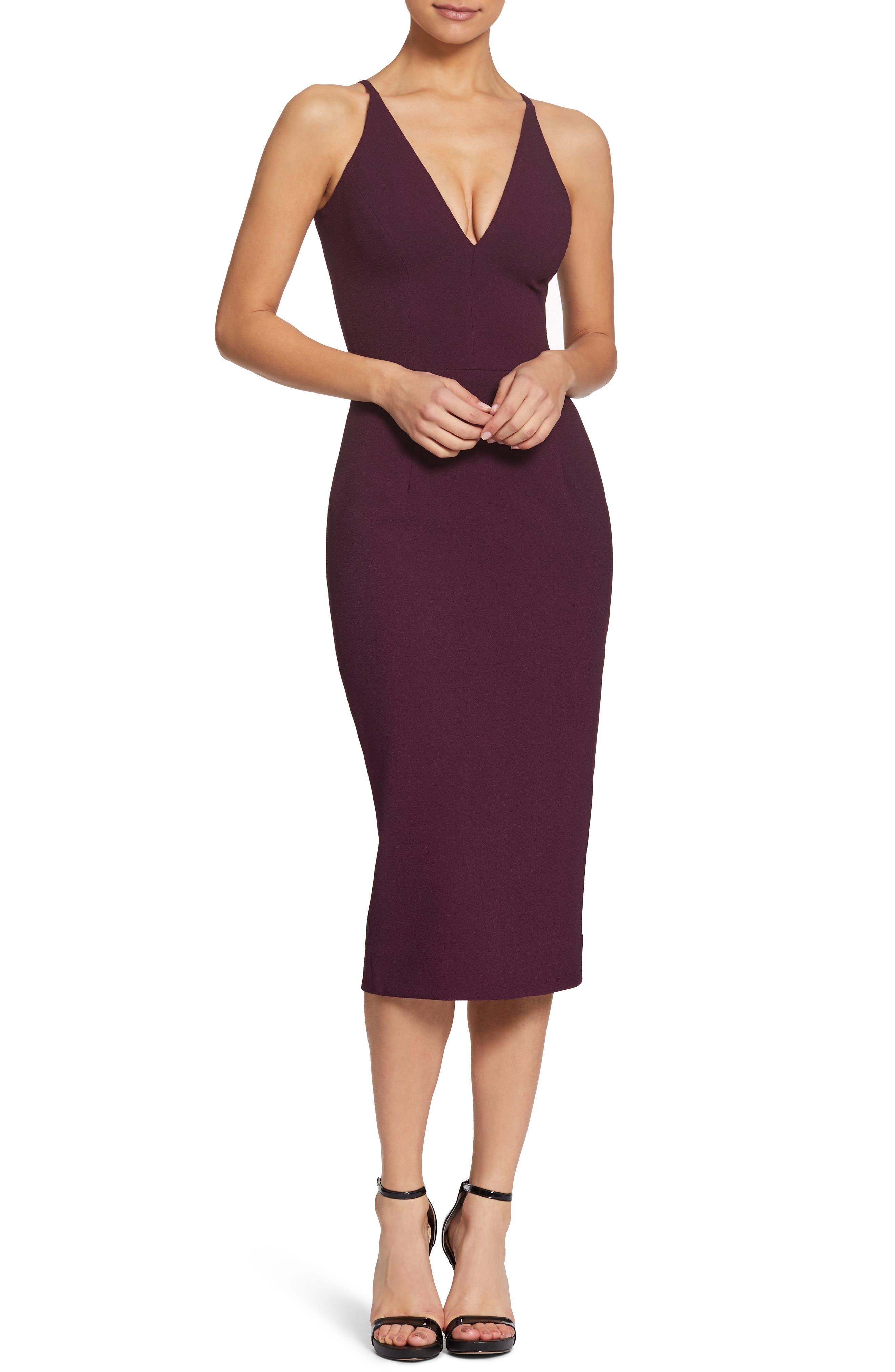 Dress The Population Lyla Crepe Sheath Dress, Purple