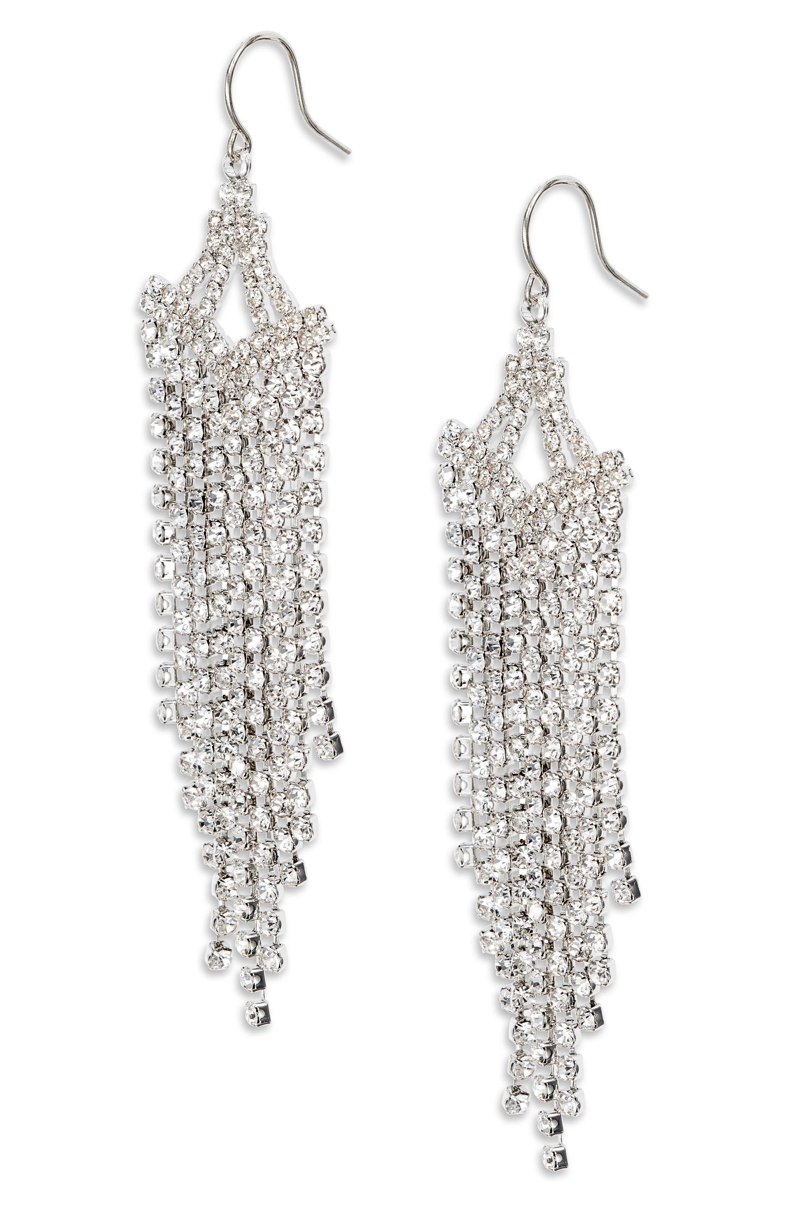 Crystal Linear Chandelier Earrings
