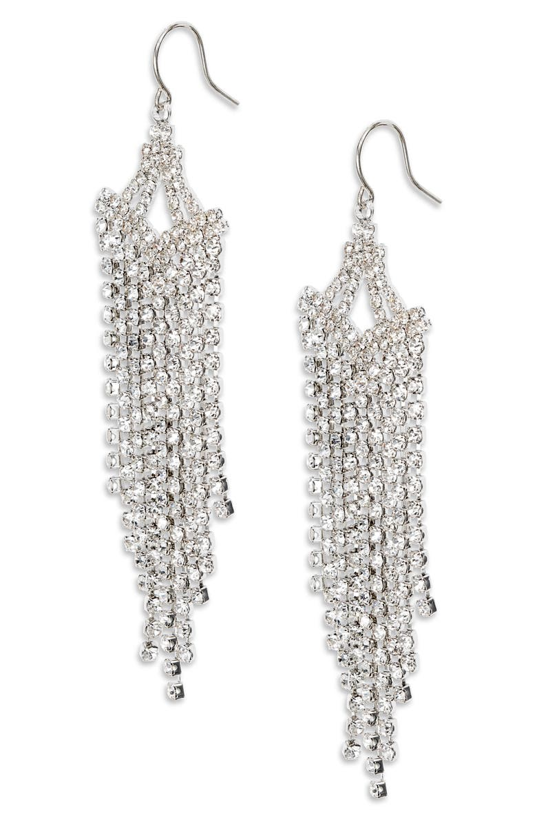 CRISTABELLE Crystal Linear Chandelier Earrings, Main, color, CRYSTAL/ RHODIUM