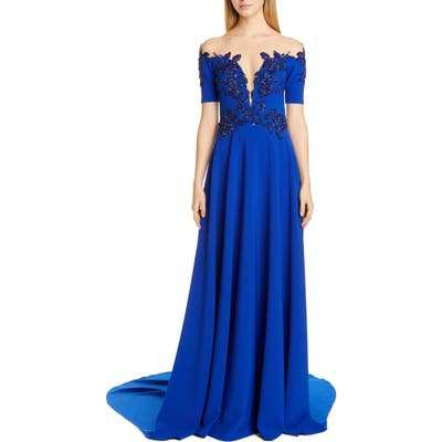 Pamella Roland Beaded Illusion Bodice Stretch Crepe Gown, Blue