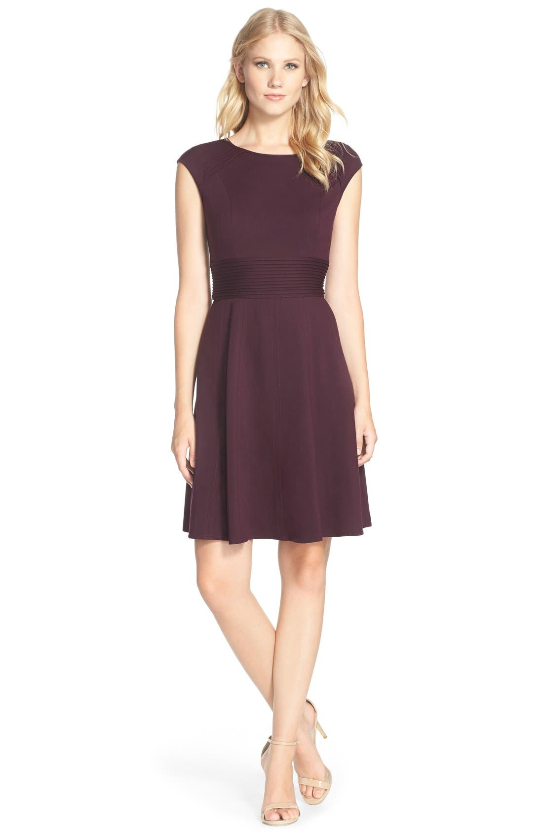 ,                             Pintucked Waist Seamed Ponte Knit Fit & Flare Dress,                             Alternate thumbnail 27, color,                             500