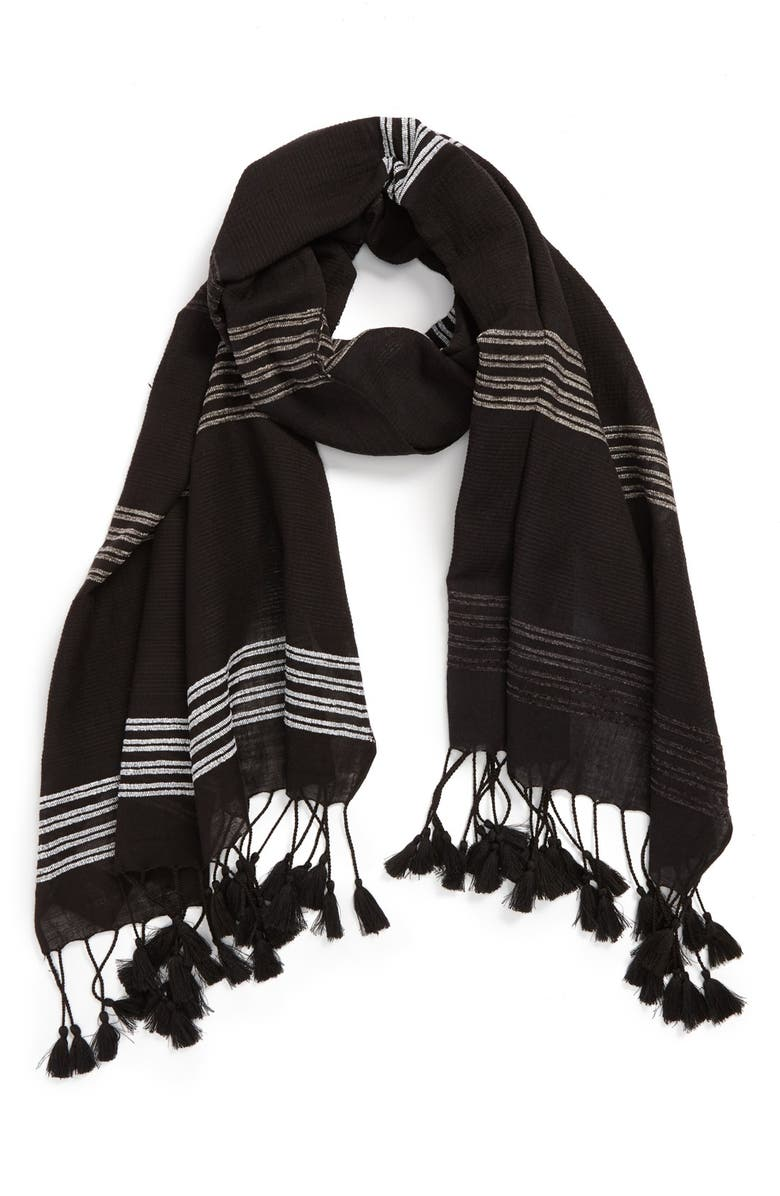 VINCE CAMUTO 'Baha Stripe' Scarf, Main, color, 001
