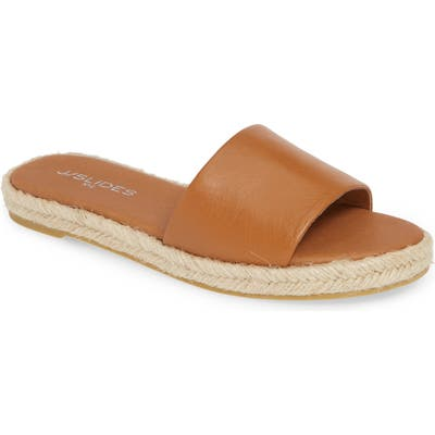 Jslides Ronnie Espadrille Slide Sandal, Brown
