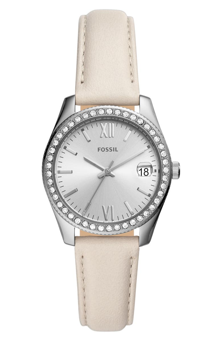 FOSSIL Scarlette Mini Leather Strap Watch, 32mm, Main, color, WHITE/ SILVER