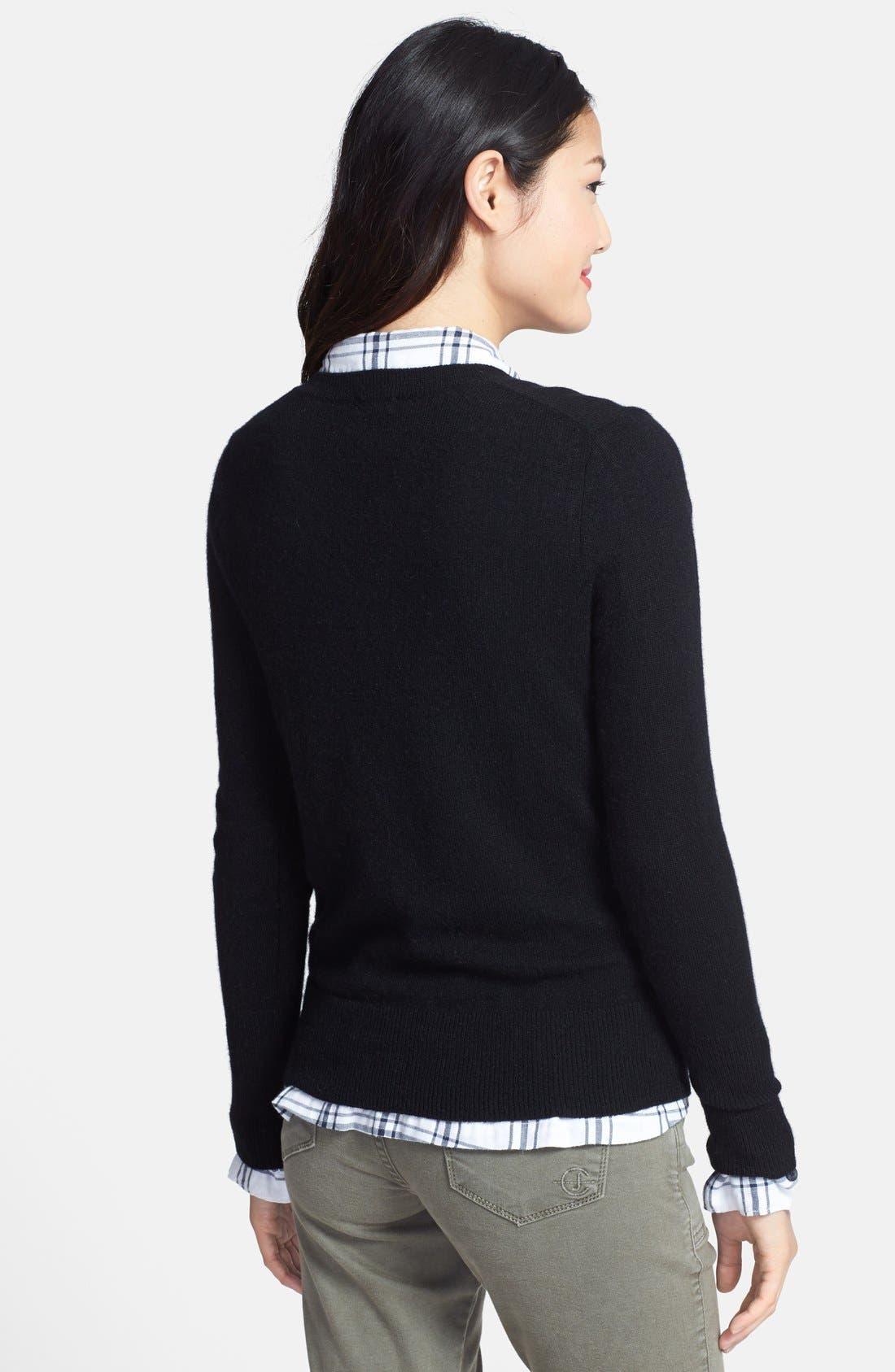 ,                             Cashmere V-Neck Sweater,                             Alternate thumbnail 3, color,                             001
