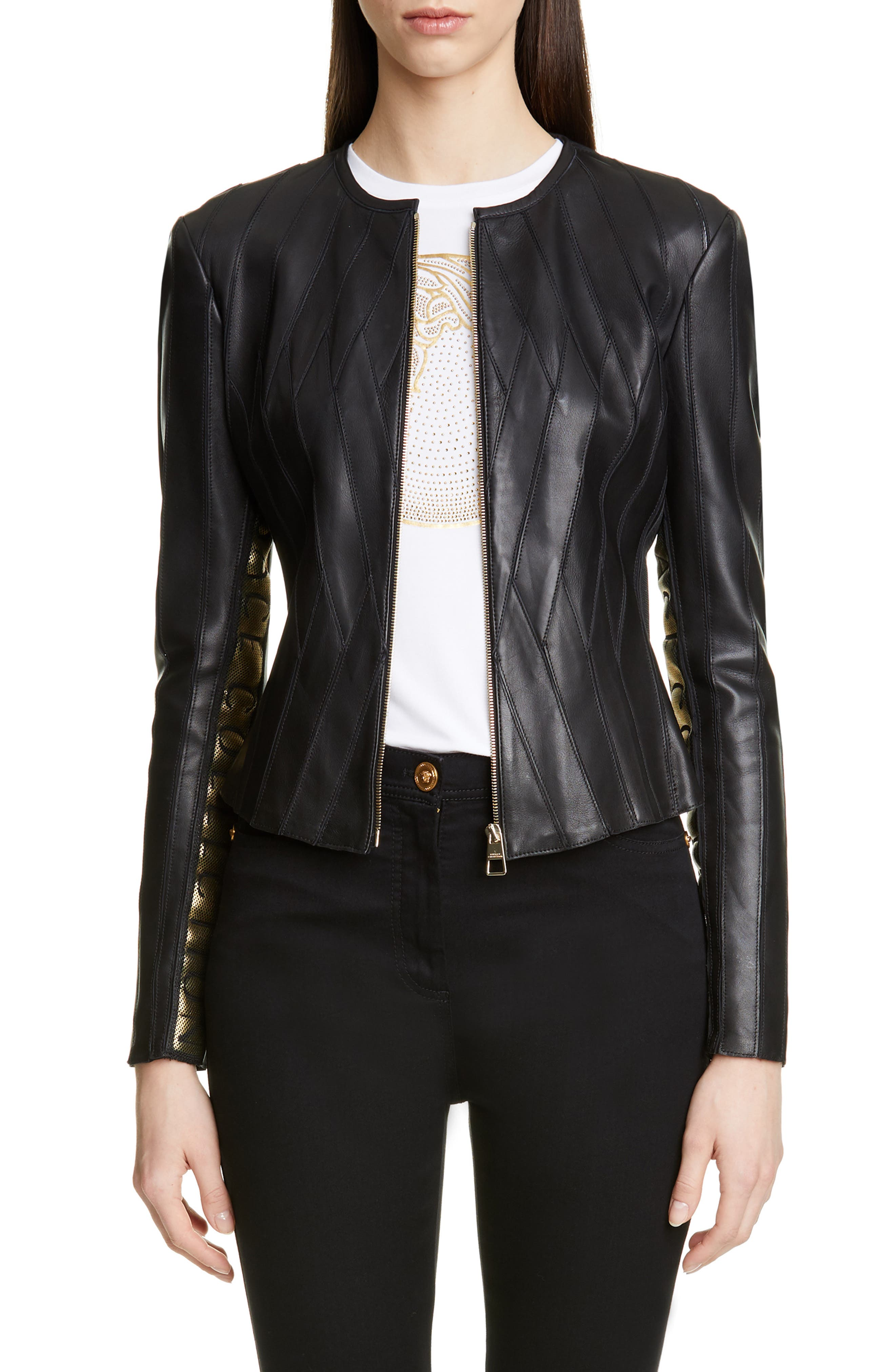 ,                             Logo Leather Jacket,                             Main thumbnail 1, color,                             BLACK
