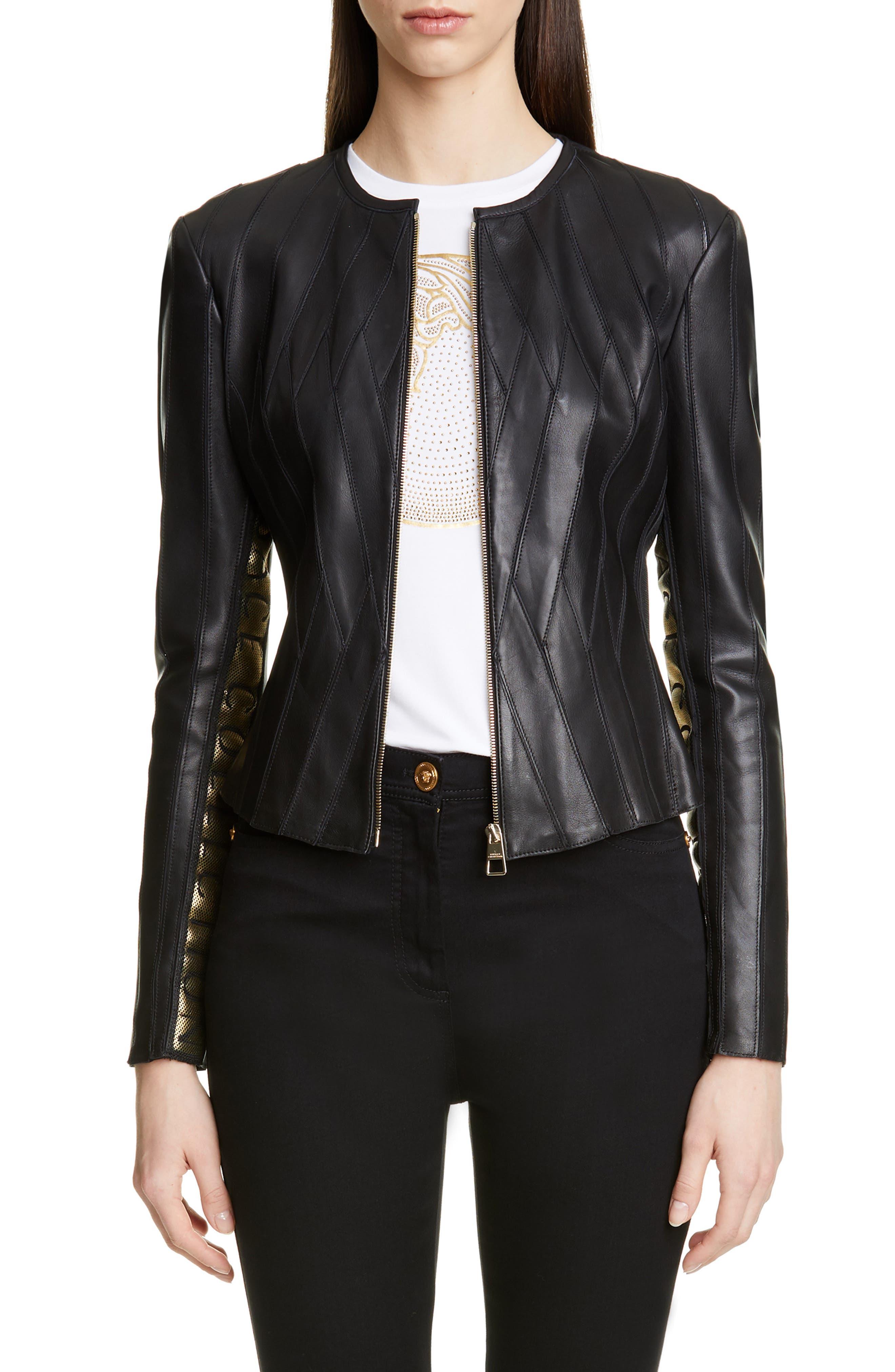 Logo Leather Jacket, Main, color, BLACK