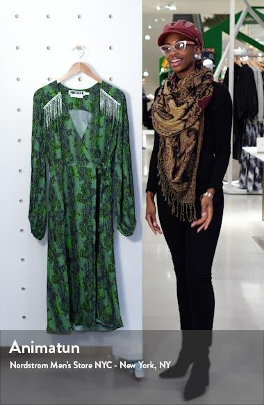 Kira Snake Print Crystal Fringe Long Sleeve Midi Dress, sales video thumbnail