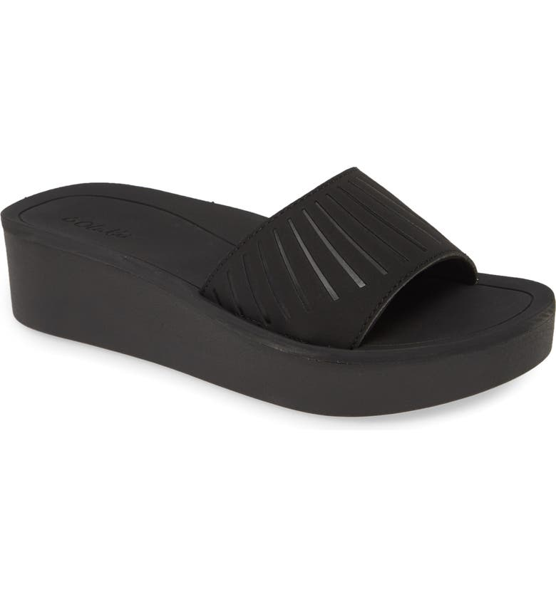 OLUKAI Halua Platform Wedge Sandal, Main, color, BLACK/ BLACK