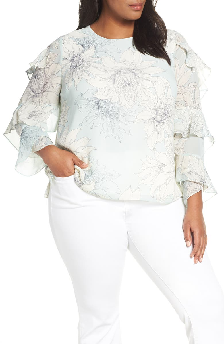 VINCE CAMUTO Pagoda Blossoms Tiered Ruffle Sleeve Blouse, Main, color, 309