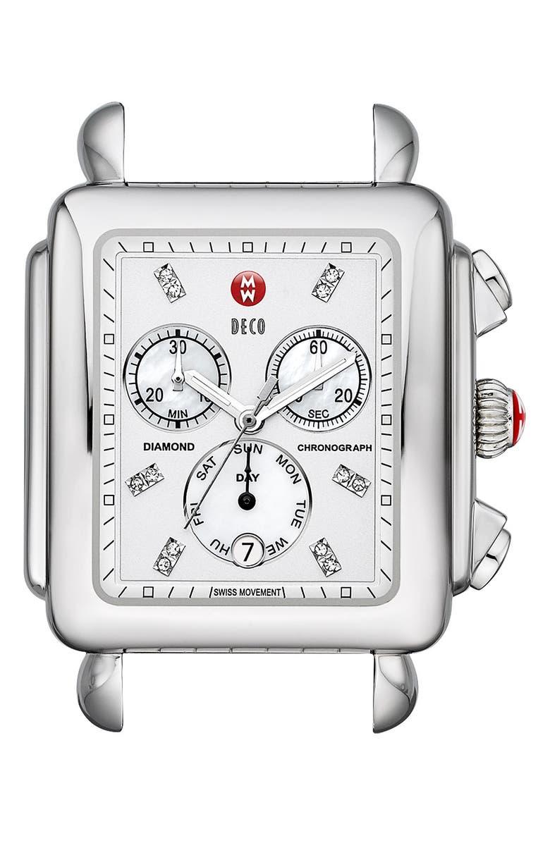 MICHELE 'Deco XL' Diamond Dial Watch Case, 37mm x 38mm, Main, color, 040