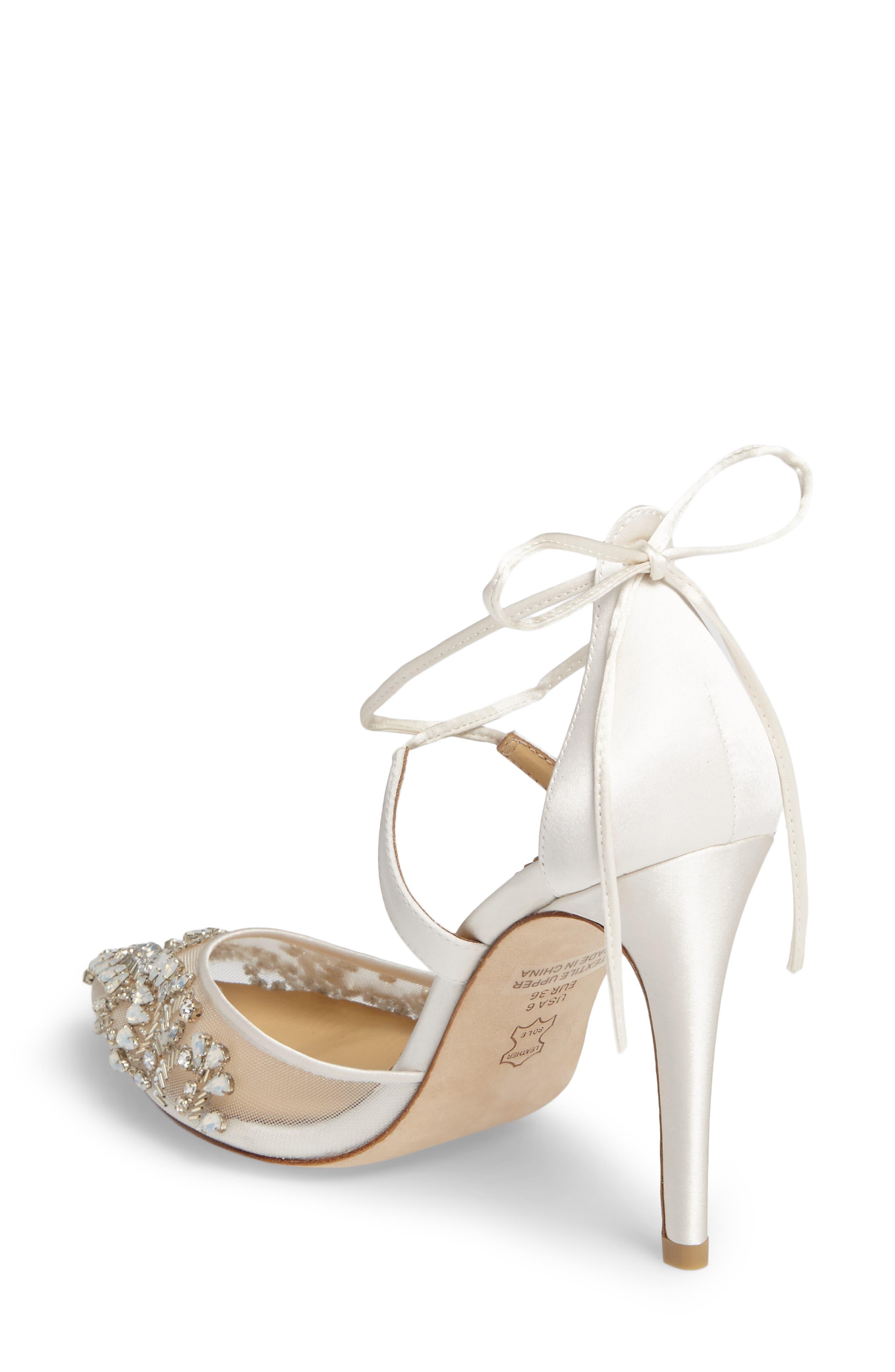 ,                             Florence Embellished Bow Sandal,                             Alternate thumbnail 2, color,                             IVORY FABRIC