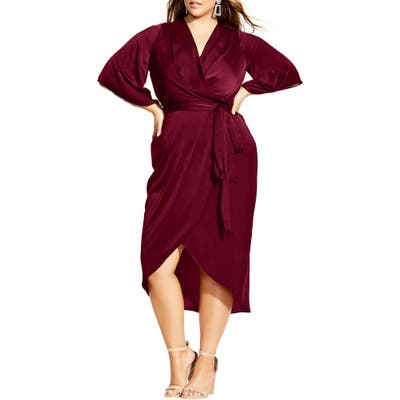 Plus Size City Chic Opulent Satin Faux Wrap Dress, Burgundy