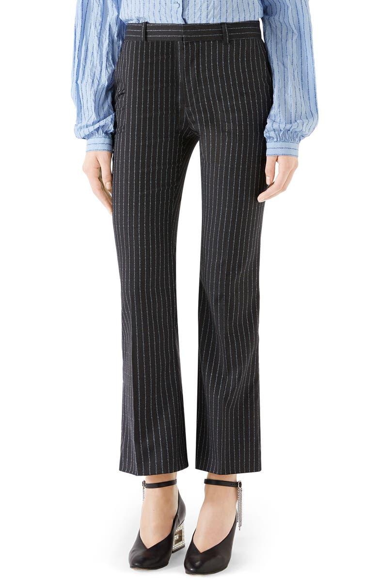 GUCCI Gucci Stripe Bootcut Pants, Main, color, DARK GREY/ AZURE